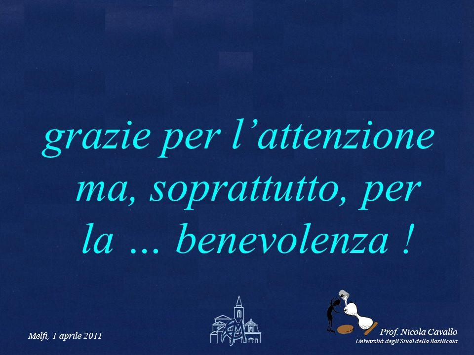 Melfi, 1 aprile 2011 Prof. Nicola Cavallo Università degli Studi della Basilicata grazie per lattenzione ma, soprattutto, per la … benevolenza !