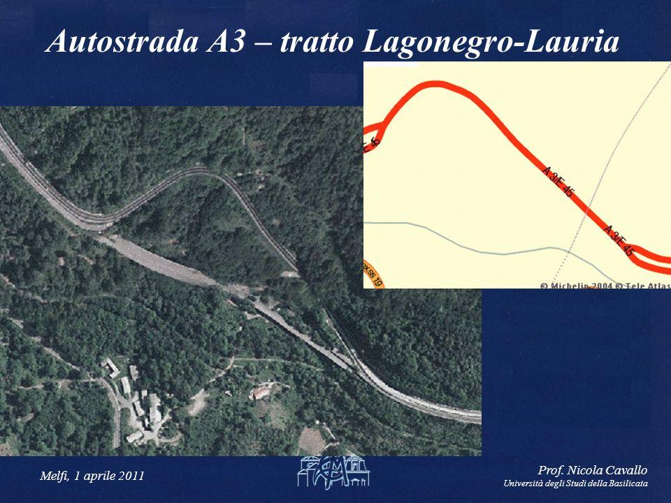 Melfi, 1 aprile 2011 Prof. Nicola Cavallo Università degli Studi della Basilicata Autostrada A3 – tratto Lagonegro-Lauria