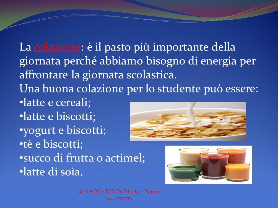 La colazione: è il pasto più importante della giornata perché abbiamo bisogno di energia per affrontare la giornata scolastica. Una buona colazione pe