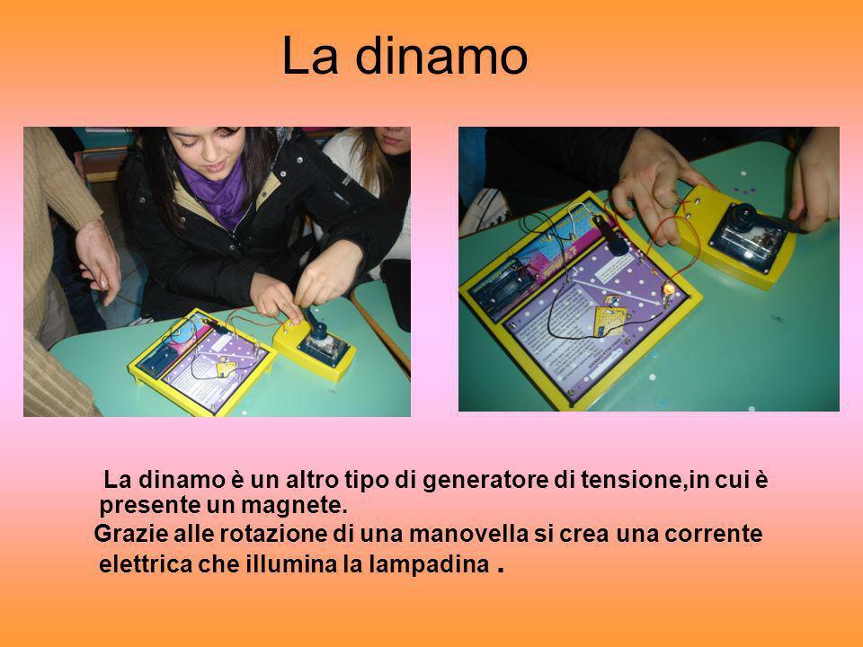 La dinamo La dinamo è un altro tipo di generatore di tensione,in cui è presente un magnete. Grazie alle rotazione di una manovella si crea una corrent