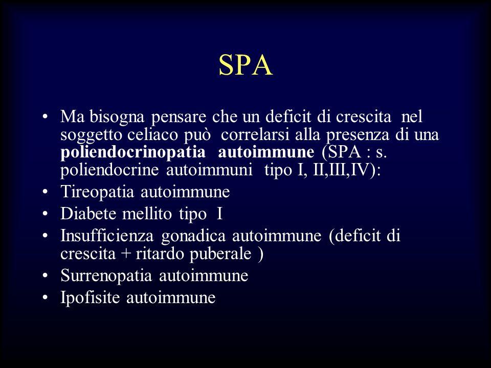 SPA Ma bisogna pensare che un deficit di crescita nel soggetto celiaco può correlarsi alla presenza di una poliendocrinopatia autoimmune (SPA : s. pol