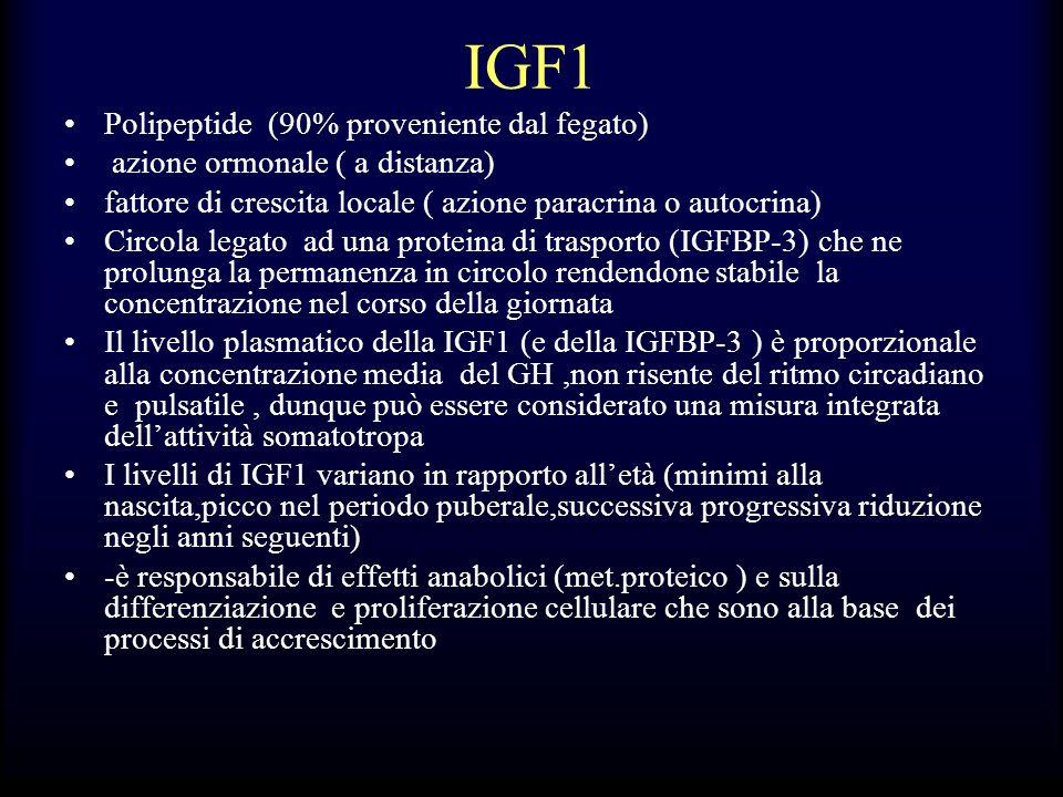 IGF1 Polipeptide (90% proveniente dal fegato) azione ormonale ( a distanza) fattore di crescita locale ( azione paracrina o autocrina) Circola legato