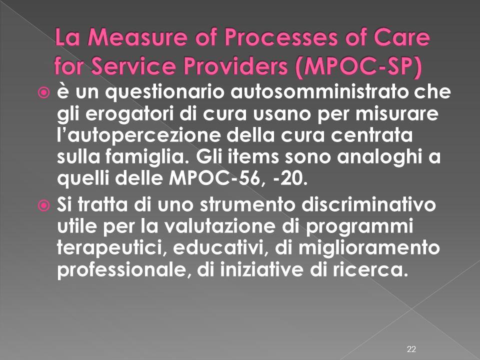 è un questionario autosomministrato che gli erogatori di cura usano per misurare lautopercezione della cura centrata sulla famiglia. Gli items sono an