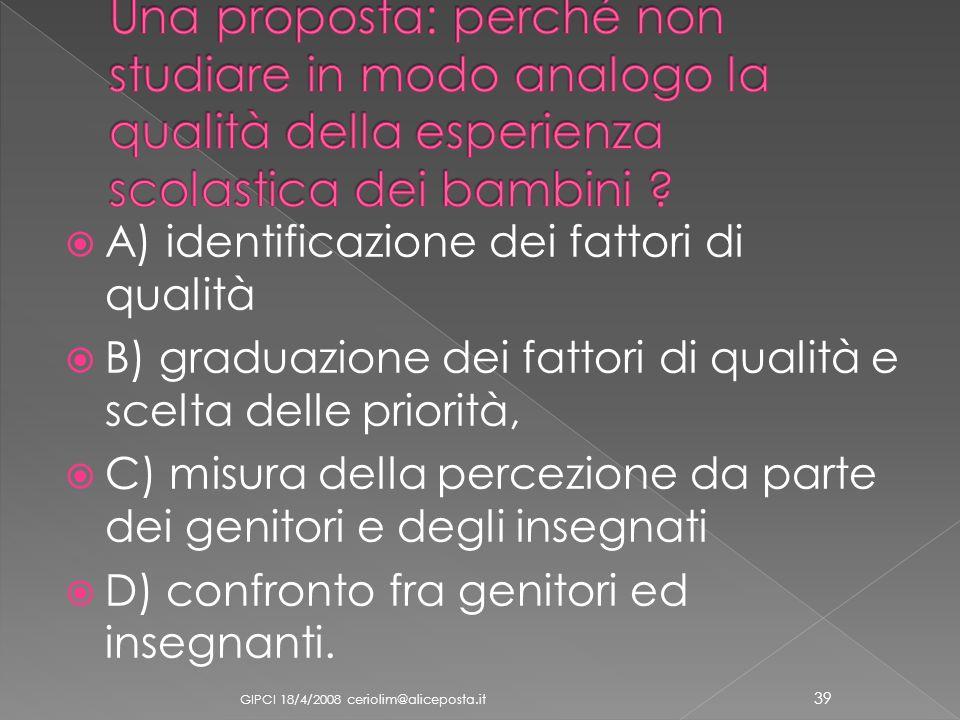 A) identificazione dei fattori di qualità B) graduazione dei fattori di qualità e scelta delle priorità, C) misura della percezione da parte dei genit
