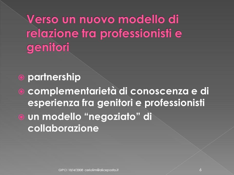 partnership complementarietà di conoscenza e di esperienza fra genitori e professionisti un modello negoziato di collaborazione GIPCI 18/4/2008 ceriol