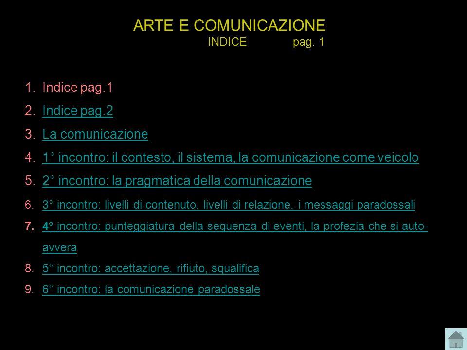 ARTE E COMUNICAZIONE INDICE pag. 1 1.Indice pag.1 2.Indice pag.2Indice pag.2 3.La comunicazioneLa comunicazione 4.1° incontro: il contesto, il sistema