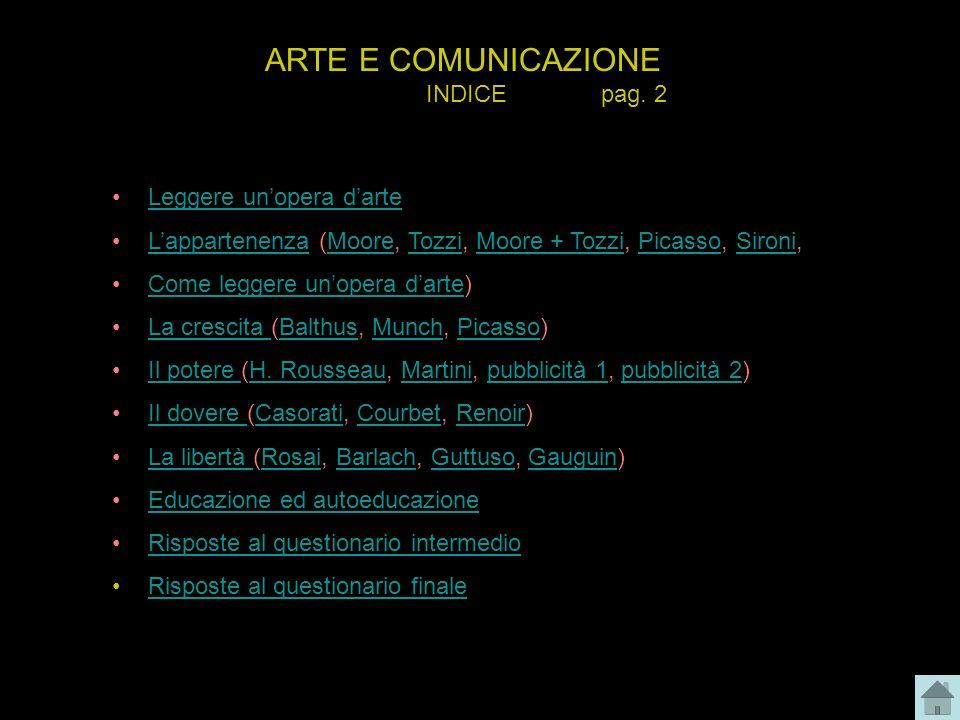 ARTE E COMUNICAZIONE INDICE pag. 2 Leggere unopera darte Lappartenenza (Moore, Tozzi, Moore + Tozzi, Picasso, Sironi,LappartenenzaMooreTozziMoore + To