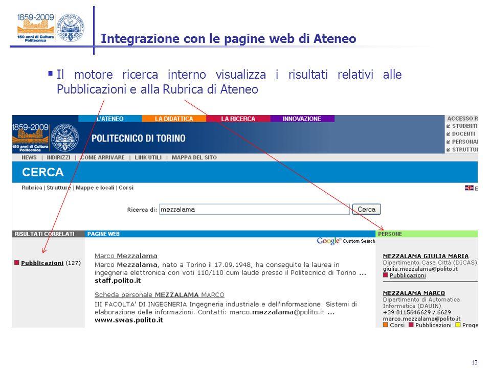 13 Integrazione con le pagine web di Ateneo Il motore ricerca interno visualizza i risultati relativi alle Pubblicazioni e alla Rubrica di Ateneo