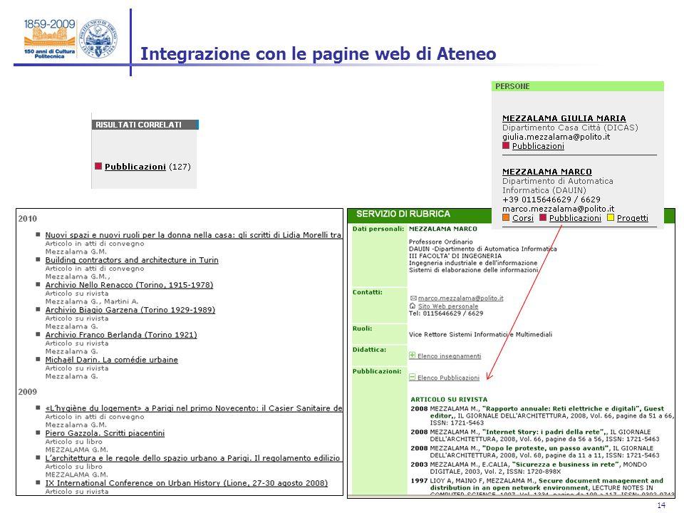 14 Integrazione con le pagine web di Ateneo