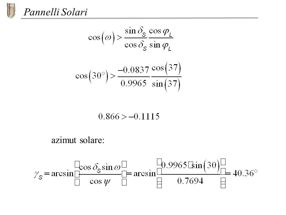 Pannelli Solari azimut solare: