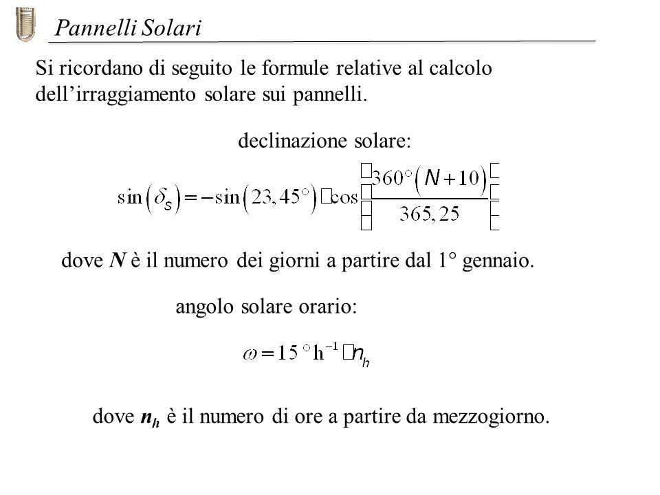 Si ricordano di seguito le formule relative al calcolo dellirraggiamento solare sui pannelli. Pannelli Solari dove N è il numero dei giorni a partire