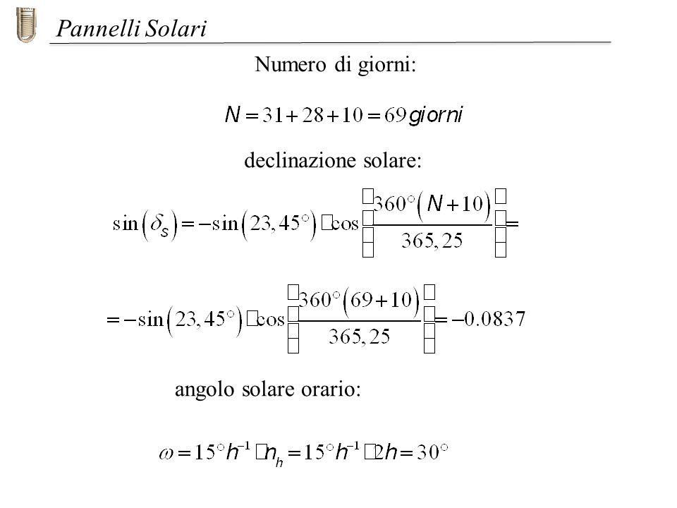 Pannelli Solari declinazione solare: Numero di giorni: angolo solare orario: