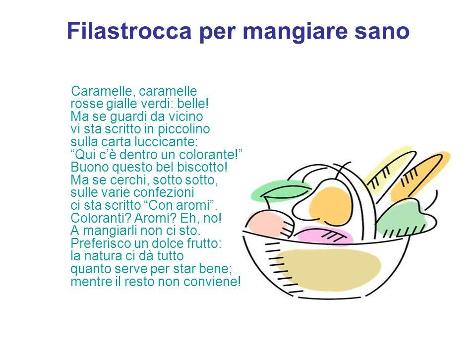 Filastrocca per mangiare sano Caramelle, caramelle rosse gialle verdi: belle! Ma se guardi da vicino vi sta scritto in piccolino sulla carta luccicant