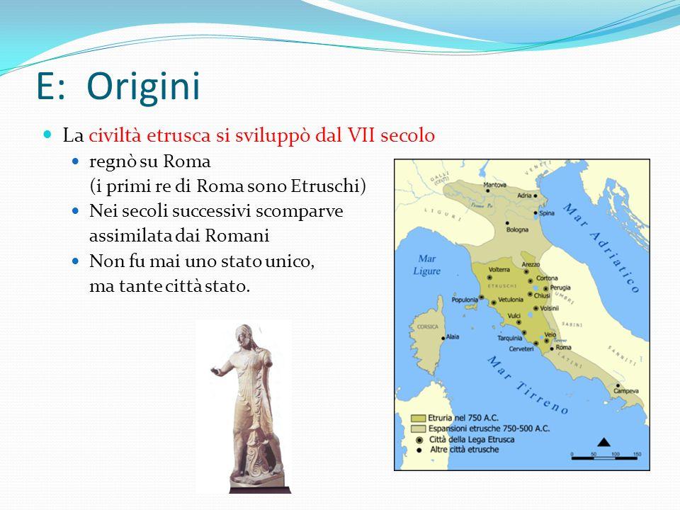 E: Origini La civiltà etrusca si sviluppò dal VII secolo regnò su Roma (i primi re di Roma sono Etruschi) Nei secoli successivi scomparve assimilata d