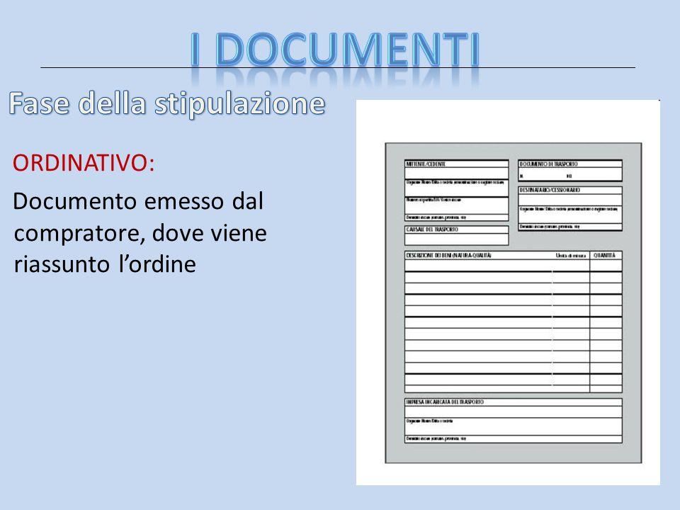 ORDINATIVO: Documento emesso dal compratore, dove viene riassunto lordine