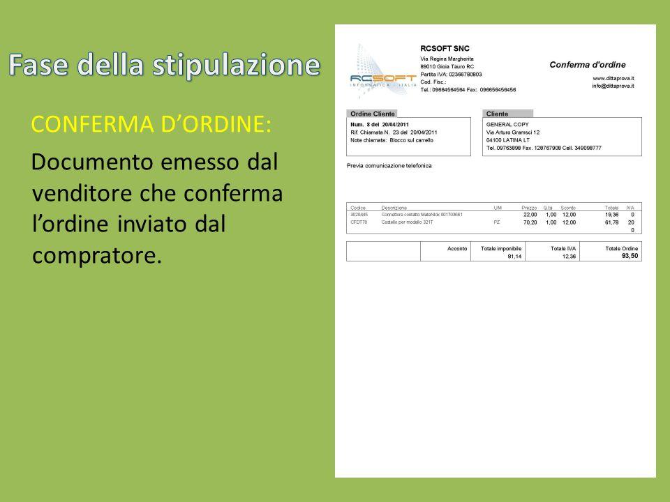 CONFERMA DORDINE: Documento emesso dal venditore che conferma lordine inviato dal compratore.