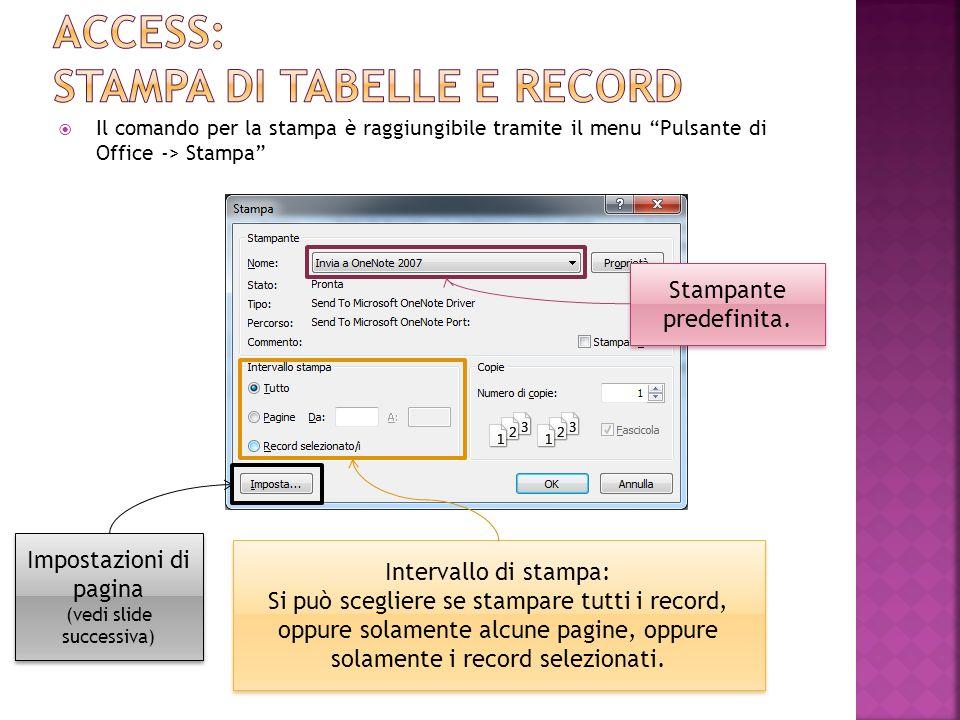 Il comando per la stampa è raggiungibile tramite il menu Pulsante di Office -> Stampa Stampante predefinita.
