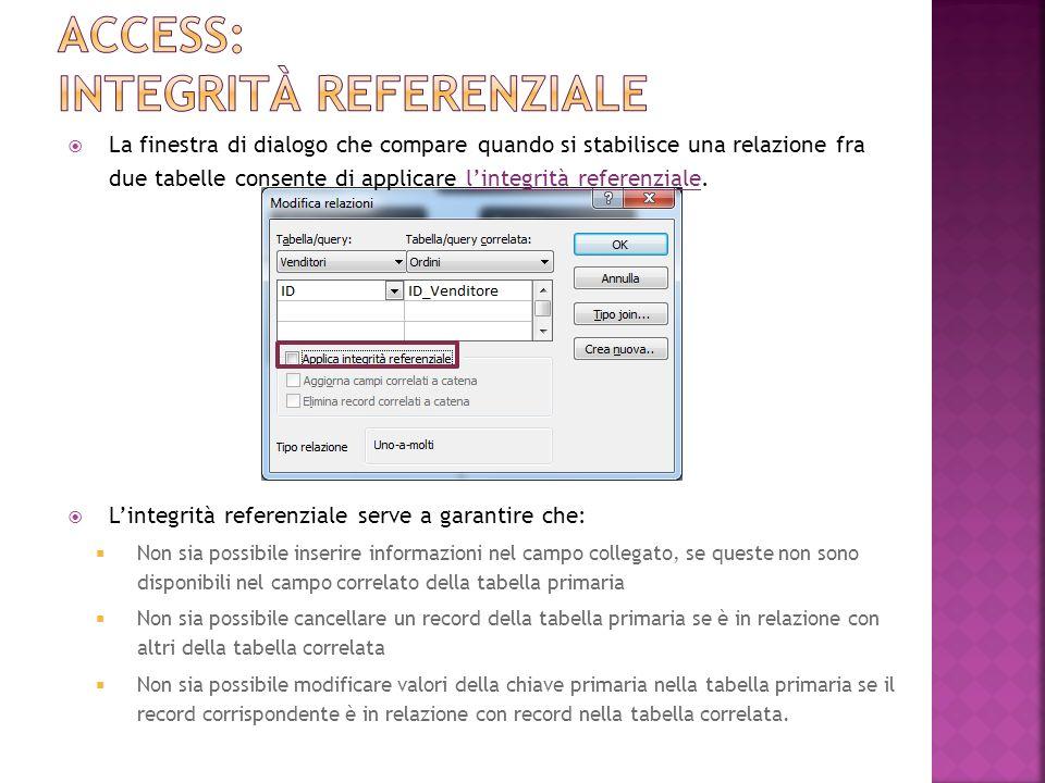 La finestra di dialogo che compare quando si stabilisce una relazione fra due tabelle consente di applicare lintegrità referenziale.