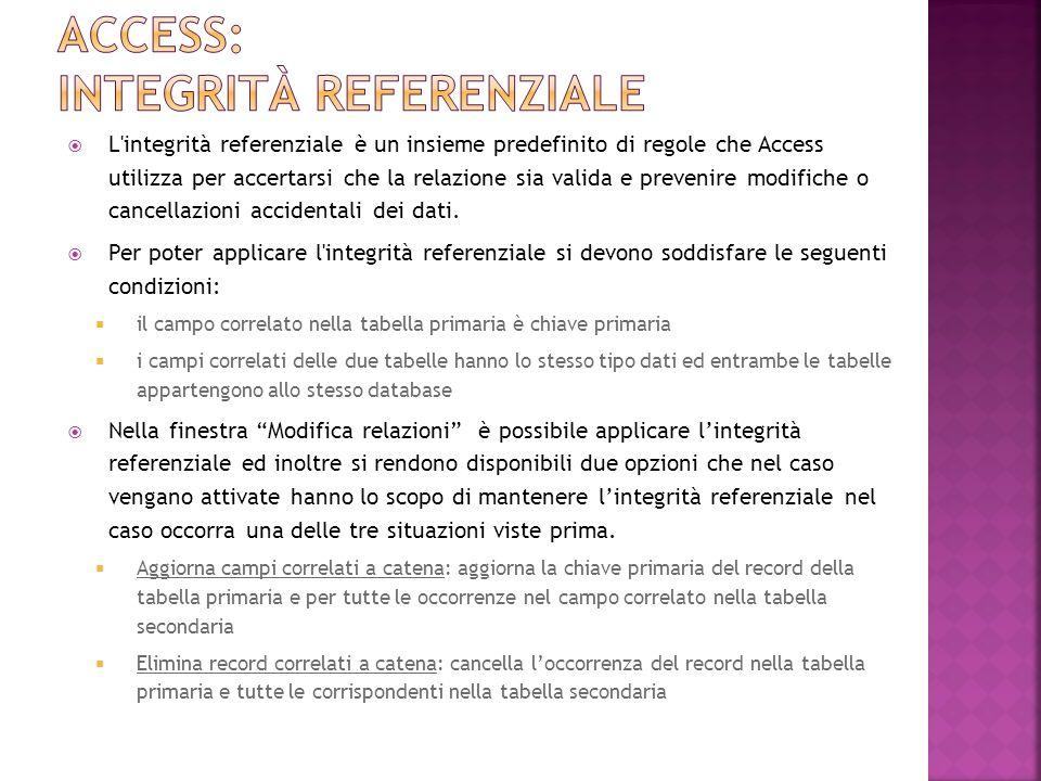 L integrità referenziale è un insieme predefinito di regole che Access utilizza per accertarsi che la relazione sia valida e prevenire modifiche o cancellazioni accidentali dei dati.