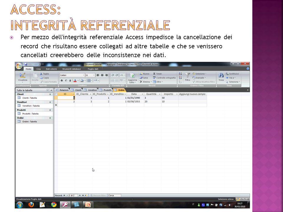 Per mezzo dell integrità referenziale Access impedisce la cancellazione dei record che risultano essere collegati ad altre tabelle e che se venissero cancellati creerebbero delle inconsistenze nei dati.