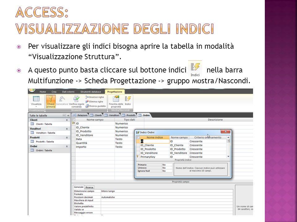 Per visualizzare gli indici bisogna aprire la tabella in modalità Visualizzazione Struttura.