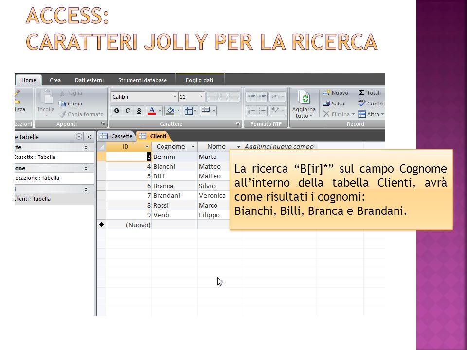 La ricerca B[ir]* sul campo Cognome allinterno della tabella Clienti, avrà come risultati i cognomi: Bianchi, Billi, Branca e Brandani.