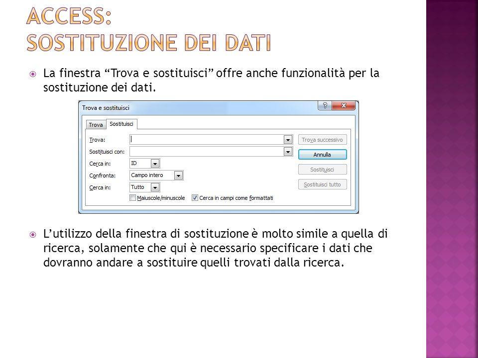 La finestra Trova e sostituisci offre anche funzionalità per la sostituzione dei dati.