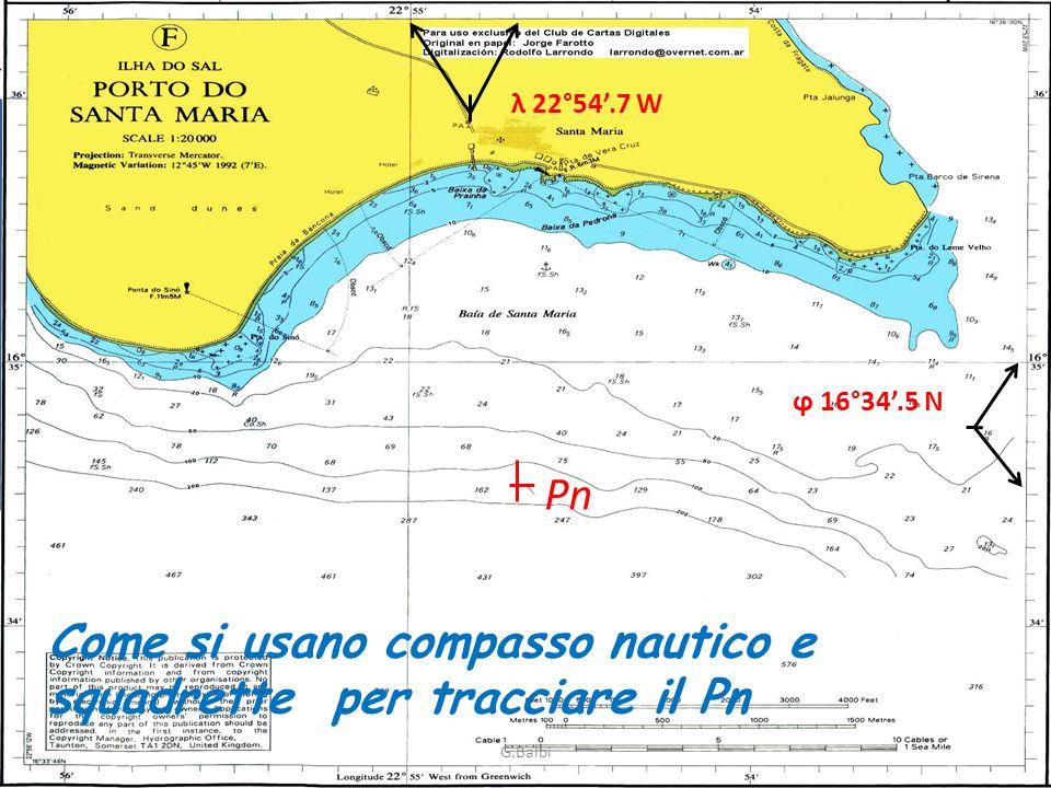 Pn Come si usano compasso nautico e squadrette per tracciare il Pn ϕ 16°34.5 N λ 22°54.7 W G.Balbi O O