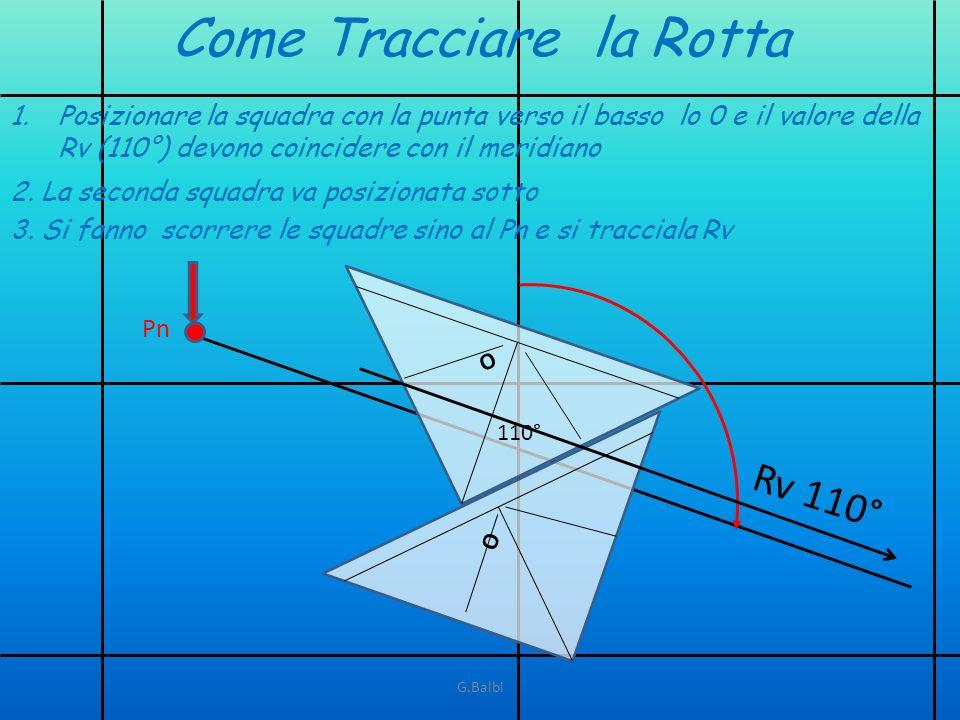 Rv 110° Come Tracciare la Rotta O O 110° 1.Posizionare la squadra con la punta verso il basso lo 0 e il valore della Rv (110°) devono coincidere con i