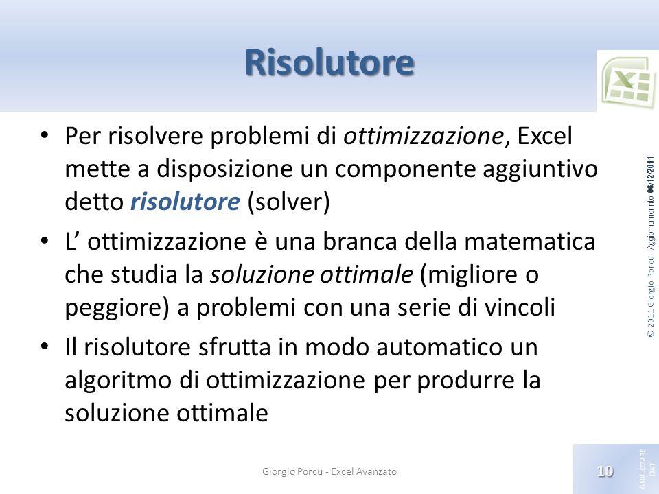 © 2011 Giorgio Porcu - Aggiornamennto 06/12/2011 A NALIZZARE D ATI Risolutore Per risolvere problemi di ottimizzazione, Excel mette a disposizione un