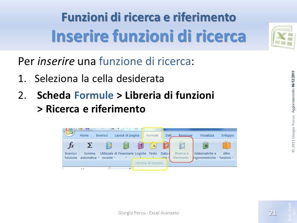 © 2011 Giorgio Porcu - Aggiornamennto 06/12/2011 A NALIZZARE D ATI Funzioni di ricerca e riferimento Inserire funzioni di ricerca Giorgio Porcu - Excel Avanzato 21 Per inserire una funzione di ricerca: 1.Seleziona la cella desiderata 2.