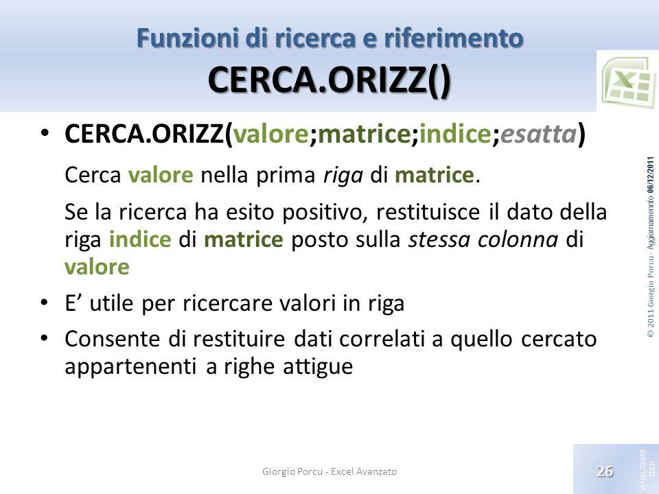© 2011 Giorgio Porcu - Aggiornamennto 06/12/2011 A NALIZZARE D ATI Funzioni di ricerca e riferimento CERCA.ORIZZ() Giorgio Porcu - Excel Avanzato 26 CERCA.ORIZZ(valore;matrice;indice;esatta) Cerca valore nella prima riga di matrice.