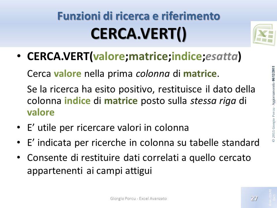 © 2011 Giorgio Porcu - Aggiornamennto 06/12/2011 A NALIZZARE D ATI Funzioni di ricerca e riferimento CERCA.VERT() Giorgio Porcu - Excel Avanzato 27 CERCA.VERT(valore;matrice;indice;esatta) Cerca valore nella prima colonna di matrice.