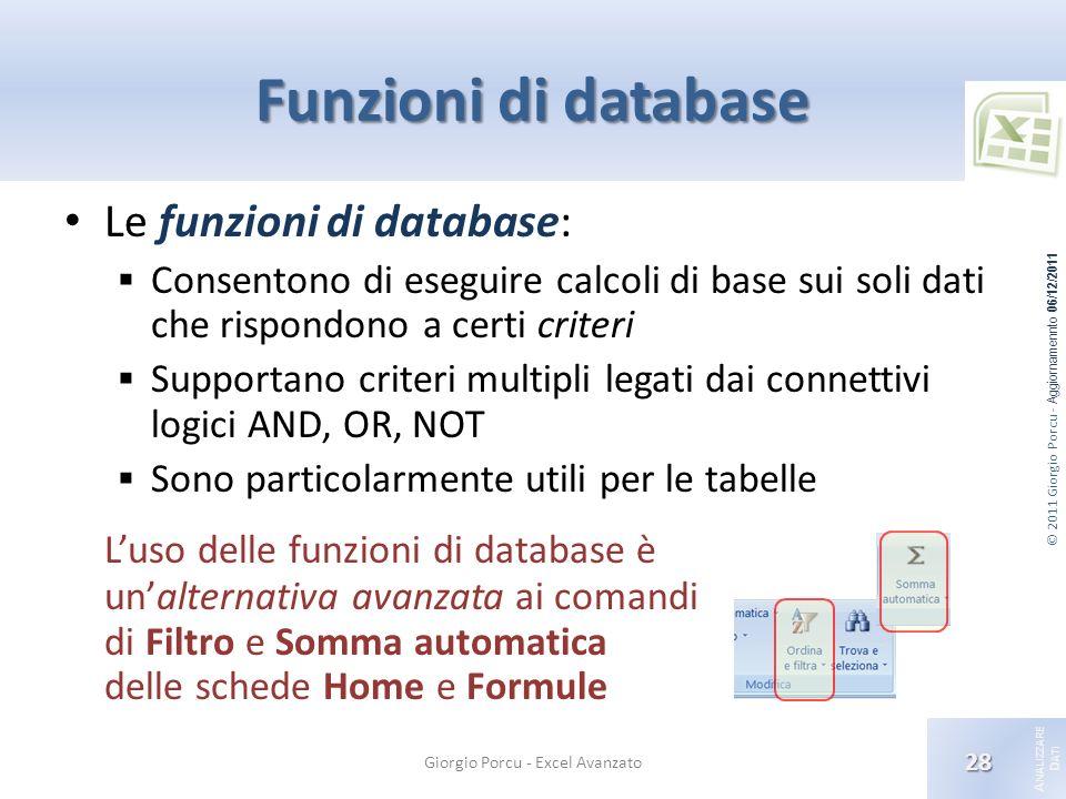© 2011 Giorgio Porcu - Aggiornamennto 06/12/2011 A NALIZZARE D ATI Funzioni di database Le funzioni di database: Consentono di eseguire calcoli di bas