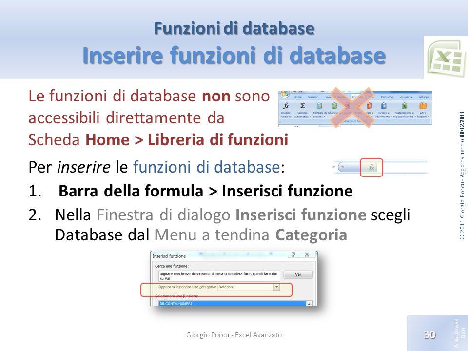 © 2011 Giorgio Porcu - Aggiornamennto 06/12/2011 A NALIZZARE D ATI Funzioni di database Inserire funzioni di database Le funzioni di database non sono accessibili direttamente da Scheda Home > Libreria di funzioni Per inserire le funzioni di database: 1.