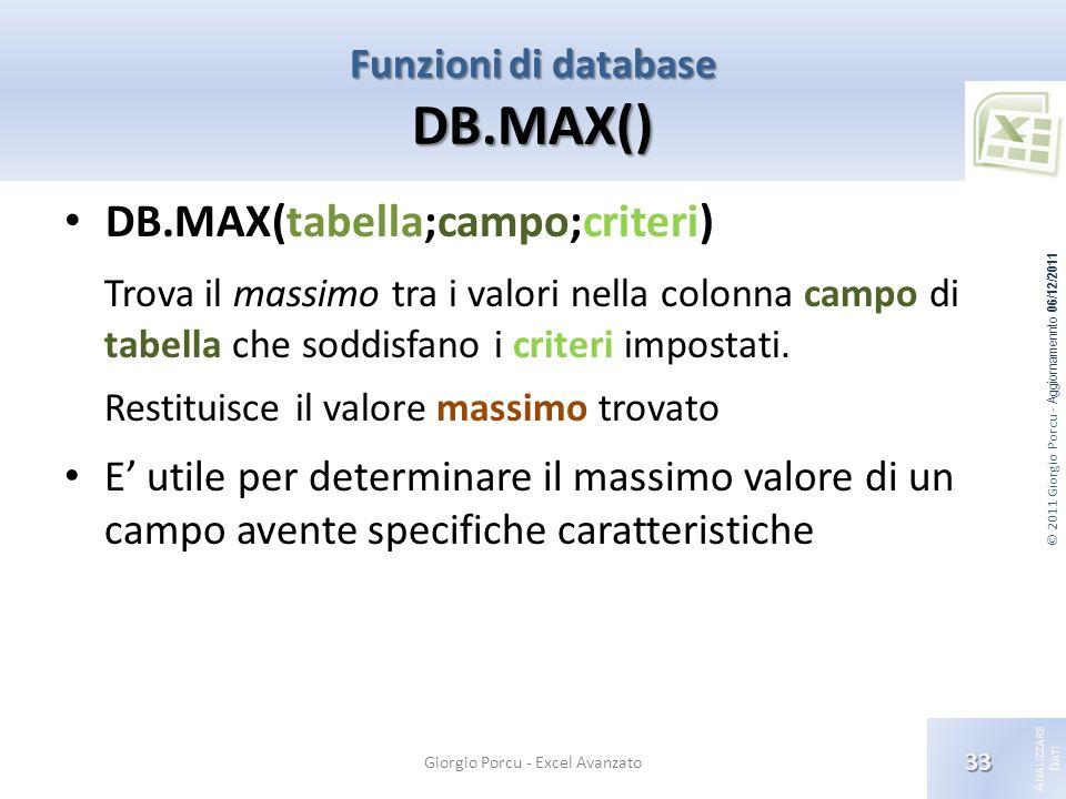 © 2011 Giorgio Porcu - Aggiornamennto 06/12/2011 A NALIZZARE D ATI Funzioni di database DB.MAX() Giorgio Porcu - Excel Avanzato 33 DB.MAX(tabella;campo;criteri) Trova il massimo tra i valori nella colonna campo di tabella che soddisfano i criteri impostati.