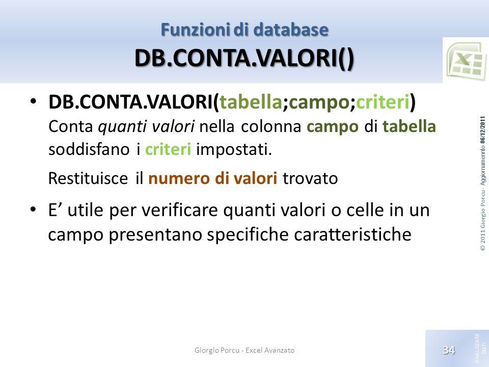 © 2011 Giorgio Porcu - Aggiornamennto 06/12/2011 A NALIZZARE D ATI Funzioni di database DB.CONTA.VALORI() Giorgio Porcu - Excel Avanzato 34 DB.CONTA.VALORI(tabella;campo;criteri) Conta quanti valori nella colonna campo di tabella soddisfano i criteri impostati.