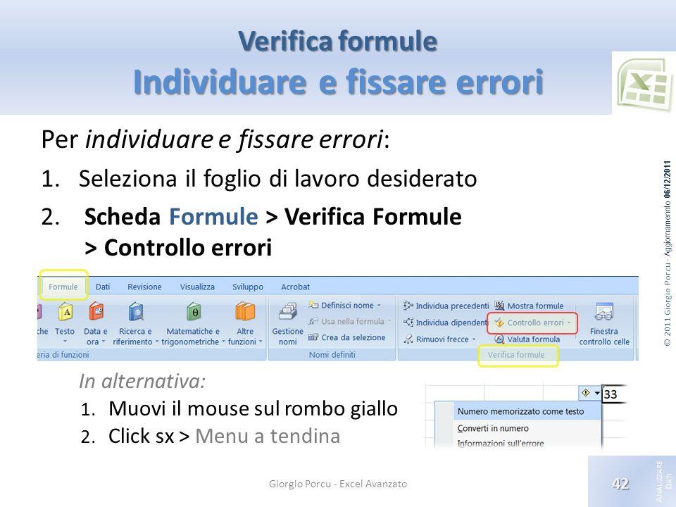 © 2011 Giorgio Porcu - Aggiornamennto 06/12/2011 A NALIZZARE D ATI Verifica formule Individuare e fissare errori Giorgio Porcu - Excel Avanzato 42 Per