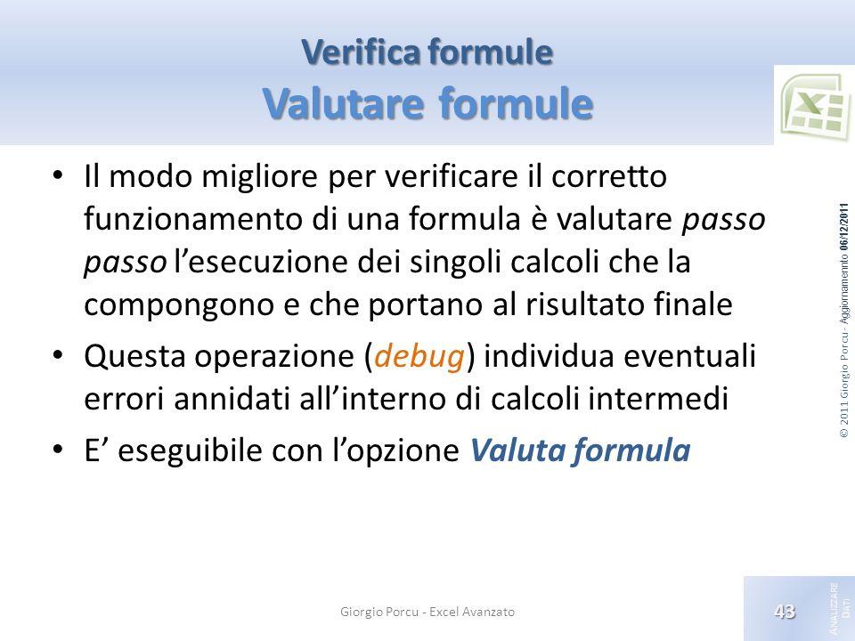 © 2011 Giorgio Porcu - Aggiornamennto 06/12/2011 A NALIZZARE D ATI Verifica formule Valutare formule Il modo migliore per verificare il corretto funzi