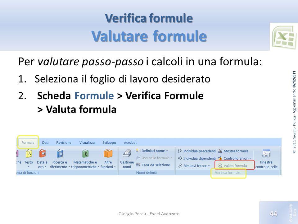 © 2011 Giorgio Porcu - Aggiornamennto 06/12/2011 A NALIZZARE D ATI Verifica formule Valutare formule Giorgio Porcu - Excel Avanzato 44 Per valutare passo-passo i calcoli in una formula: 1.Seleziona il foglio di lavoro desiderato 2.