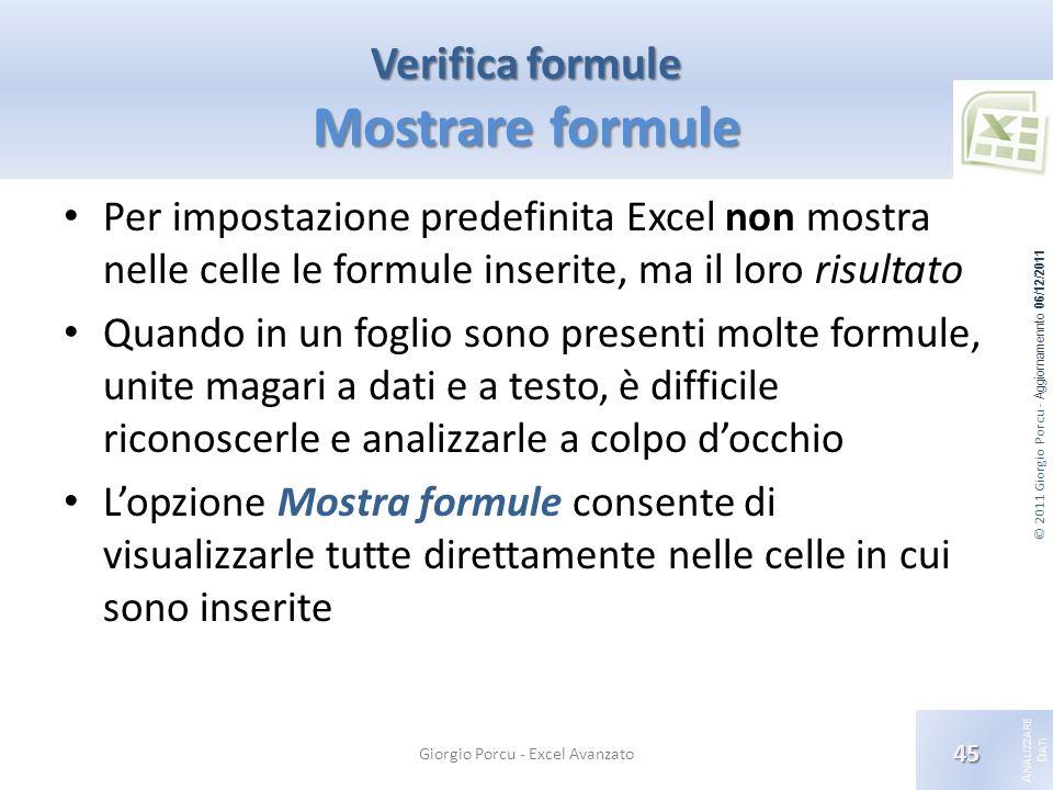 © 2011 Giorgio Porcu - Aggiornamennto 06/12/2011 A NALIZZARE D ATI Verifica formule Mostrare formule Per impostazione predefinita Excel non mostra nel