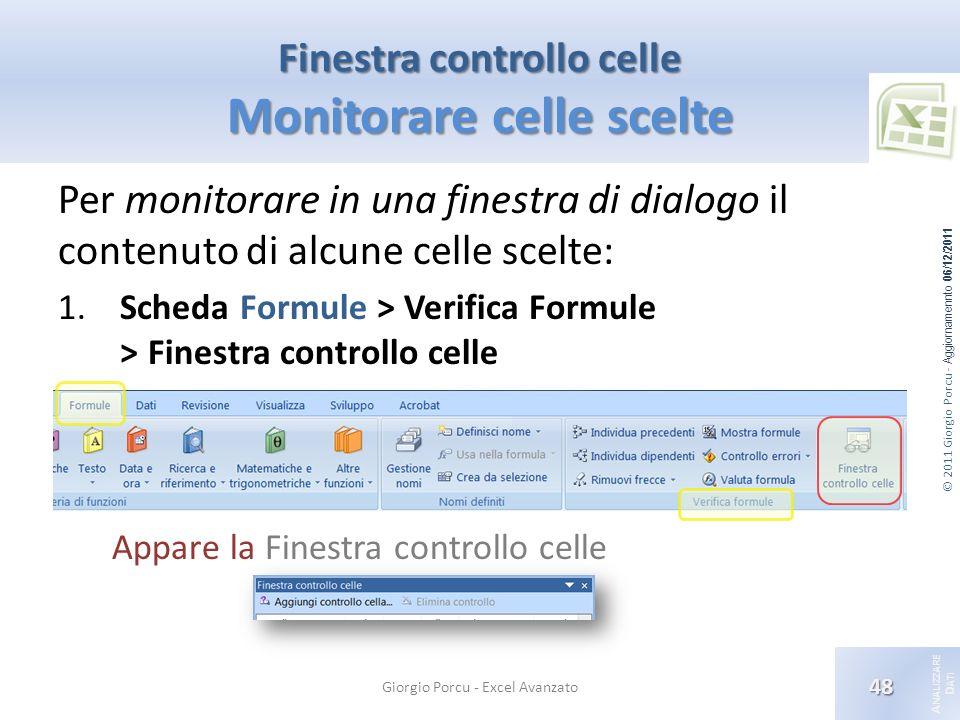 © 2011 Giorgio Porcu - Aggiornamennto 06/12/2011 A NALIZZARE D ATI Finestra controllo celle Monitorare celle scelte Per monitorare in una finestra di dialogo il contenuto di alcune celle scelte: 1.