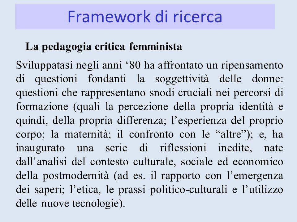 La pedagogia critica femminista Sviluppatasi negli anni 80 ha affrontato un ripensamento di questioni fondanti la soggettività delle donne: questioni