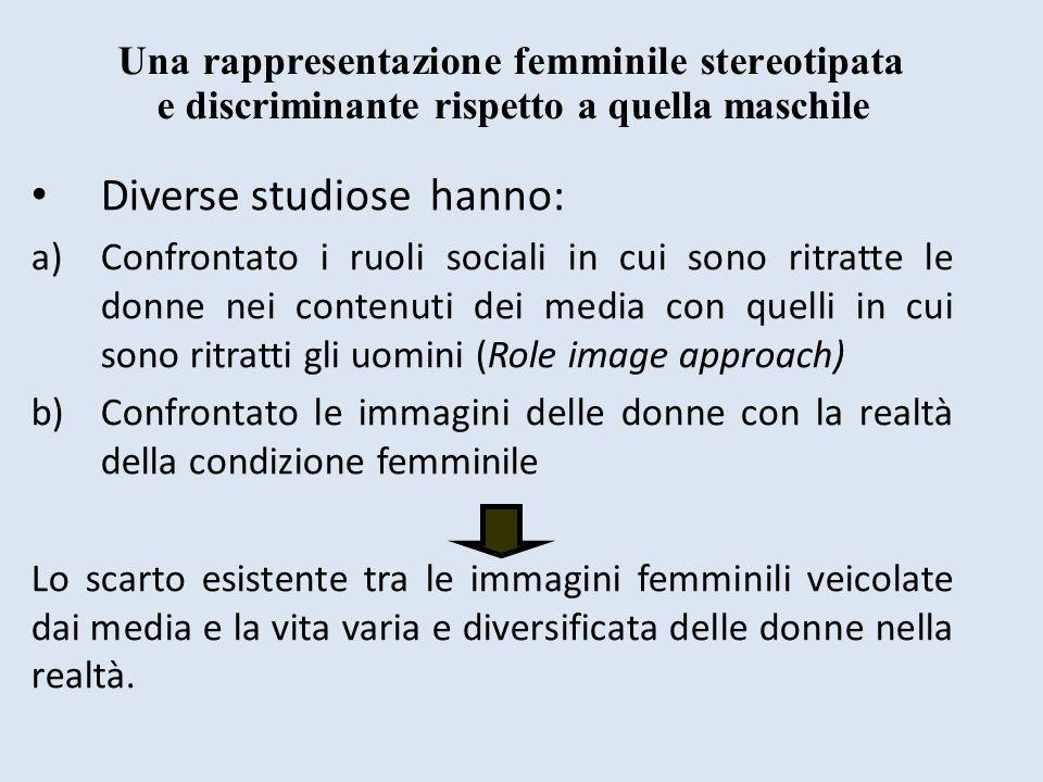 Diverse studiose hanno: a)Confrontato i ruoli sociali in cui sono ritratte le donne nei contenuti dei media con quelli in cui sono ritratti gli uomini