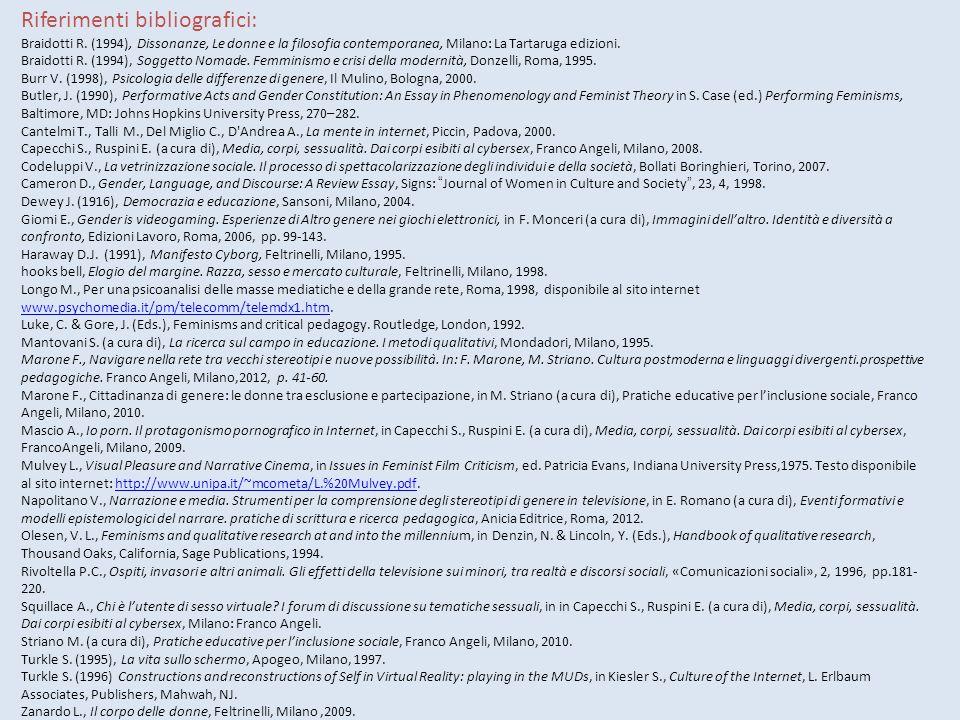 Riferimenti bibliografici: Braidotti R.