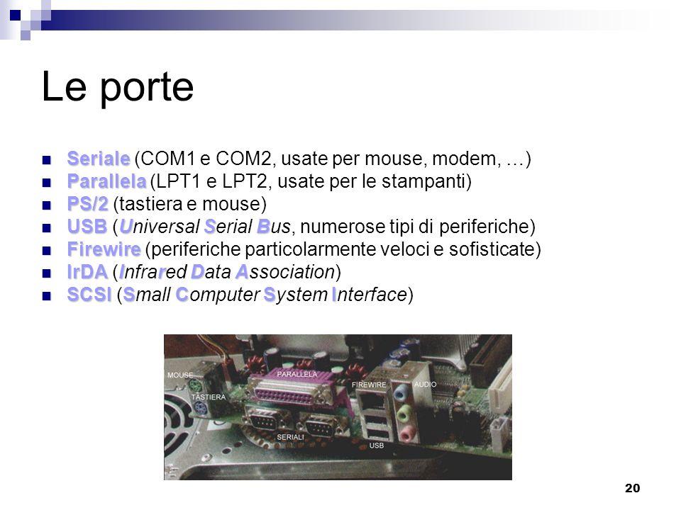 20 Le porte Seriale Seriale (COM1 e COM2, usate per mouse, modem, …) Parallela Parallela (LPT1 e LPT2, usate per le stampanti) PS/2 PS/2 (tastiera e mouse) USBUSB USB (Universal Serial Bus, numerose tipi di periferiche) Firewire Firewire (periferiche particolarmente veloci e sofisticate) IrDAIrDA IrDA (Infrared Data Association) SCSISCSI SCSI (Small Computer System Interface)