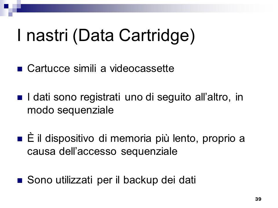 39 I nastri (Data Cartridge) Cartucce simili a videocassette I dati sono registrati uno di seguito allaltro, in modo sequenziale È il dispositivo di memoria più lento, proprio a causa dellaccesso sequenziale Sono utilizzati per il backup dei dati