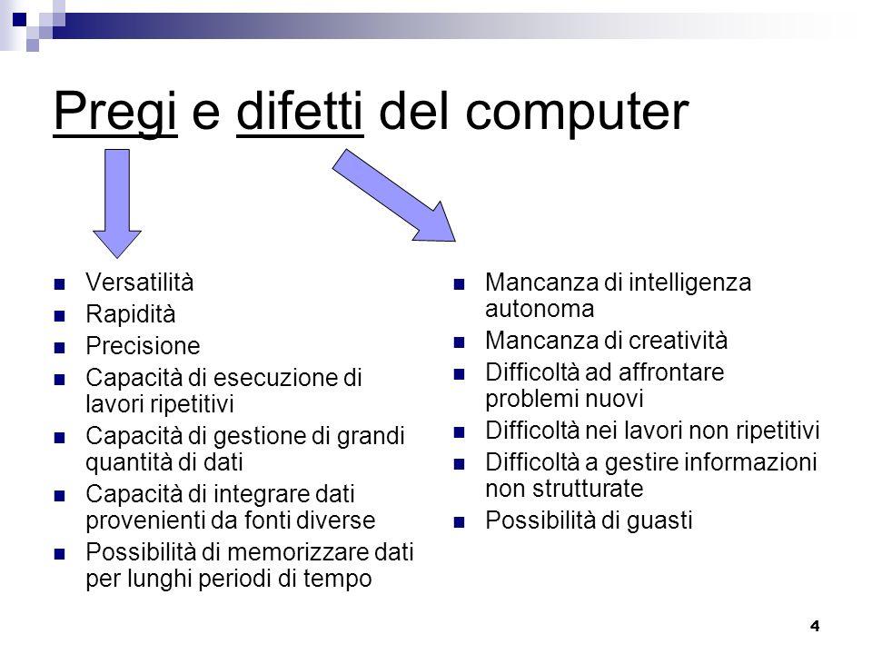 4 Pregi e difetti del computer Versatilità Rapidità Precisione Capacità di esecuzione di lavori ripetitivi Capacità di gestione di grandi quantità di