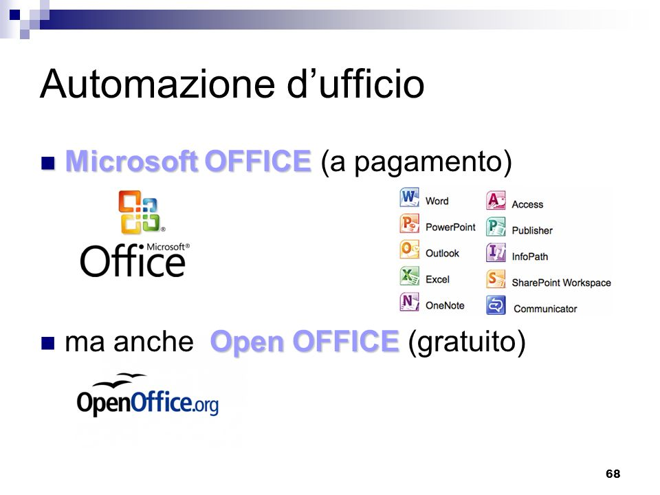 68 Automazione dufficio Microsoft OFFICE Microsoft OFFICE (a pagamento) Open OFFICE ma anche Open OFFICE (gratuito)