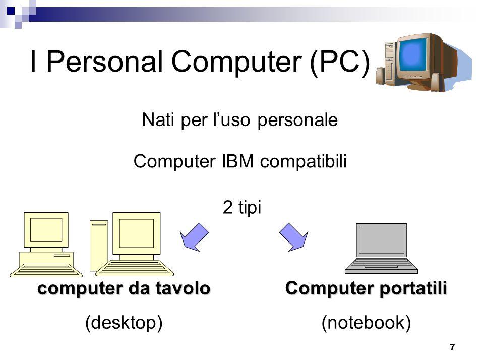 7 I Personal Computer (PC) Nati per luso personale Computer IBM compatibili 2 tipi computer da tavolo (desktop) Computer portatili (notebook)
